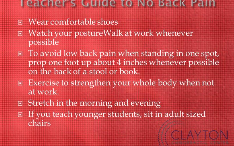the teacher s guide to no back pain clayton chiropractic center